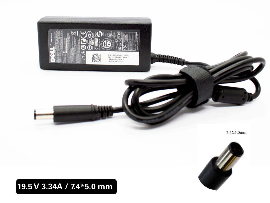 Cargador Laptop DELL 19.5V/3.34A/65W/7.4*5.0mm Plug Aguja, Original