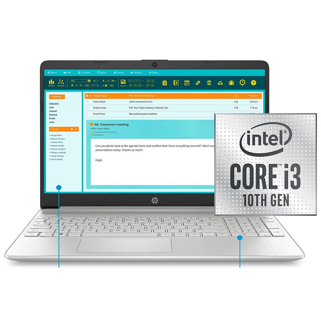 "Laptop HP 15-DY1024: Procesador Intel Core™ i3-1005G1 1.2GHz, Disco 128GB SSD, Ram 4GB, Pantalla 15.6"" (1366x768) BT, Webcam, Silver, Refurbished A 1 año de garantia"