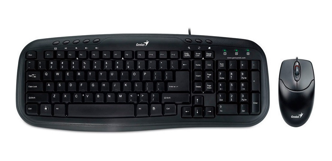 Combo GENIUS alambrico Teclado + Mouse KM-200 Usb, teclas suaves color negro