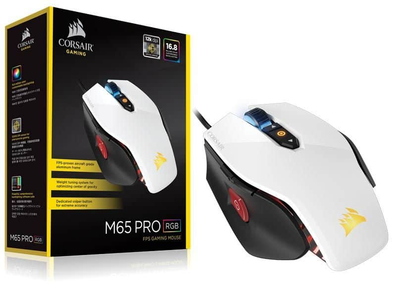 Mouse CORSAIR M65 Ooptico PRO, 3 zonas RGB FPS, Gaming, color blanco