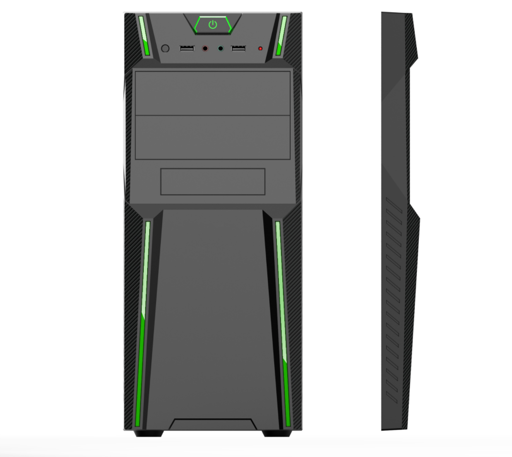 Case ETEK SX-C3145 tipo torre ATX, 2 USB, Panel frontal con  tiras laterales verdes, Tapa lateral Transparente